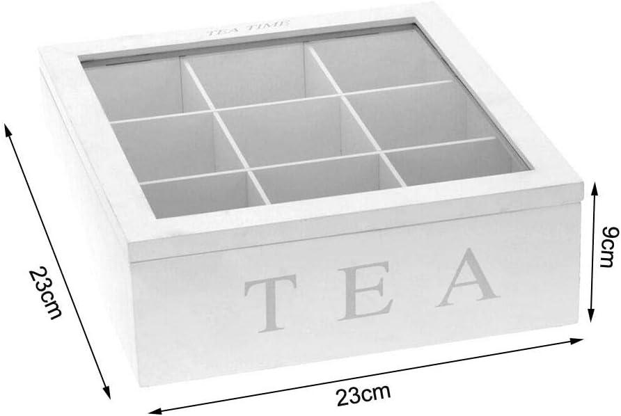 Coffee Tea Storage Organizer with Lid Lamptti 9-Compartment Vintage Bamboo Tea Box White Storage Box Wooden Tea Box with Compartments