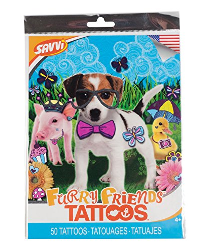 Savvi Set of 50 Temporary Tattoos, Furry Friends -