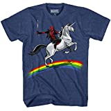 Marvel Men's Deadpool Riding A Unicorn On A Rainbow T-Shirt, Navy Heather, Large