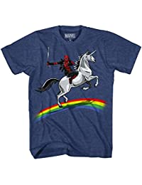 Men's Deadpool Riding a Unicorn On a Rainbow T-Shirt