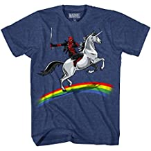Marvel Men's Deadpool Riding a Unicorn on a Rainbow T-Shirt
