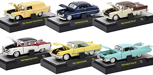 Auto Thentics 6 Piece Set Release 43 IN DISPLAY CASES 1/64 by M2 Machines 32500-43 1950 Mercury Coupe
