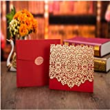 Laser Cut Invitations Cards(free 5 Pcs Red Candy Box) with Cross-Knot For Wedding Bridal Shower Invitation Baby Shower Engagement Birthday Invitation Graduation (Red)