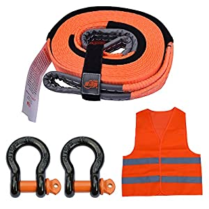 "MySit Tow Strap Recovery Winch Snatch Strap Kit with 5/8 D Ring Shackles, Off Road Vehicle/ATV/Car Towing Rope, Bonus Orange Reflective Vessel Gloves Storage Bag, 2"" x15'x 30,000 lbs(TowStrap_US)"