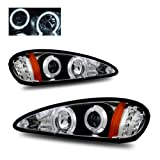 pontiac grand am halo headlights - SPPC Projector Headlights Black Assembly Set with LED Halo Rings for Pontiac Grand Am - (Pair) Driver Left and Passenger Right Side Replacement Headlamp