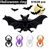 SEniutarm Halloween Plastic Spider/Bat Ring Christmas Birthday Party Decor Black Spider20pcs