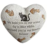 Cat Painted Heart Engraved Memorial Garden Stone Grave Marker, Cement Construction, 6