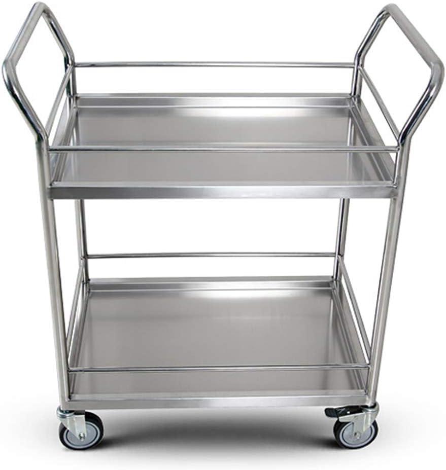 Carro de instrumentos médicos de 2 capas, Carro de almacenamiento de cocina de acero inoxidable, Carro de servicio grande con ruedas de bloqueo, para hoteles, residencias, hospitales