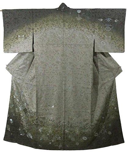 和らげる病的洪水リサイクル 着物 訪問着 正絹 袷 花や唐草模様 刺繍 染め 裄65.5cm 身丈155cm