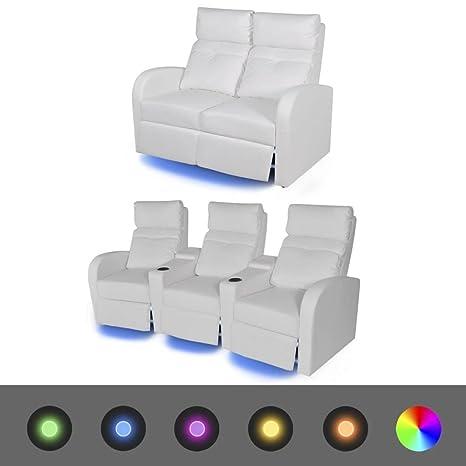 WEILANDEAL Sofas reclinables LED 2 uds 2+3 plazas Cuero ...