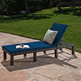 Great Deal Furniture Joyce Outdoor Multibrown Wicker Chaise Lounge with Blue Water Resistant Cushion For Sale