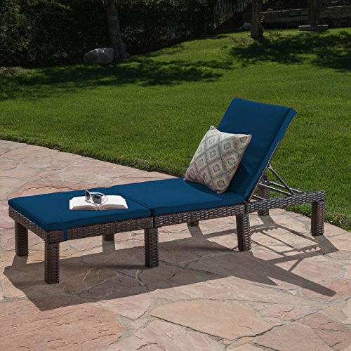 Great Deal Furniture Joyce Outdoor Multibrown Wicker Chaise Lounge With  Blue Water Resistant Cushion By Great