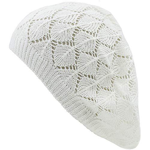 an Womens Off White Geometric Diamond Stripe Open Knit Beanie Beret Hat