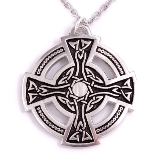 St Justin, Pewter Disc Centre Cross - 27 Inch Trace Chain