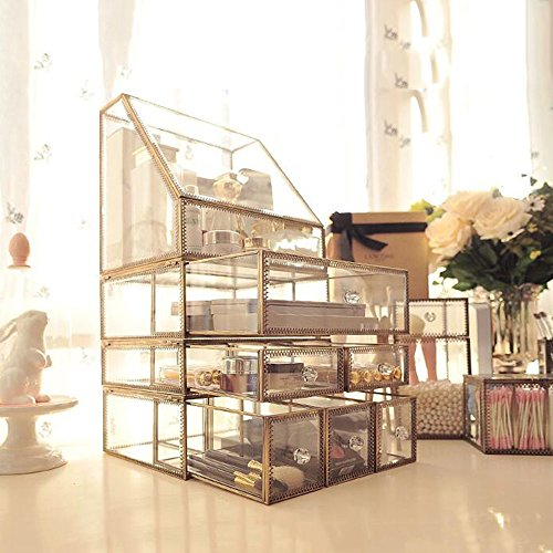 ROOYF Transparent Glass Dustproof Cover Lipstick Eyebrow Pencil Jewelry Cosmetics Table Top Dressing Table Storage Case Transparent F by ROOYF