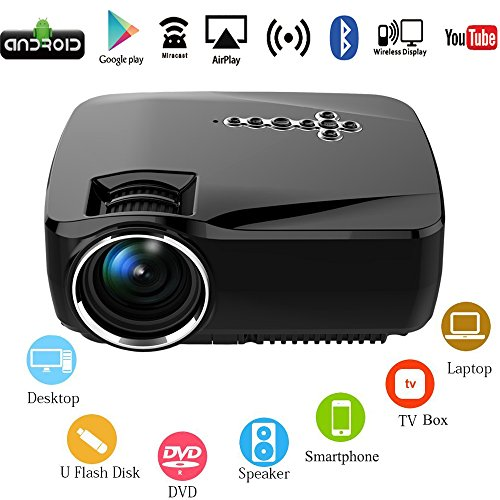 Android wifi led projector portable multimedia 1200 lumens for Mini wifi projector review