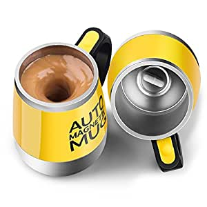 [Update]Stirring Coffee Mug - Upintek Magnetic Self Stirring Mug Cup, Electric Stainless Steel Automatic Self Mixing Cup and Mug for Traveling Morning, Office Men and Women 450ml/15.2oz(Yellow)