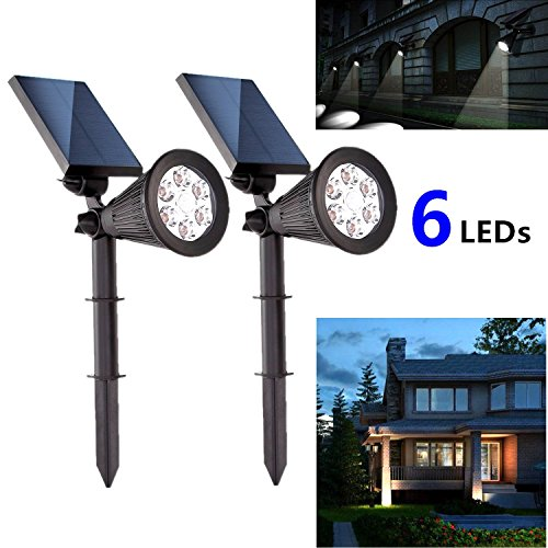 Pack of 2 Solar Spotlights Outdoor, Upgraded Solar Waterproof 6 Lights Landscape Lighting With Motion Sensing PIR AUTO ON/OFF for Patio, Deck, Yard, Garden, Driveway, Pathway, Pool, Garage Review