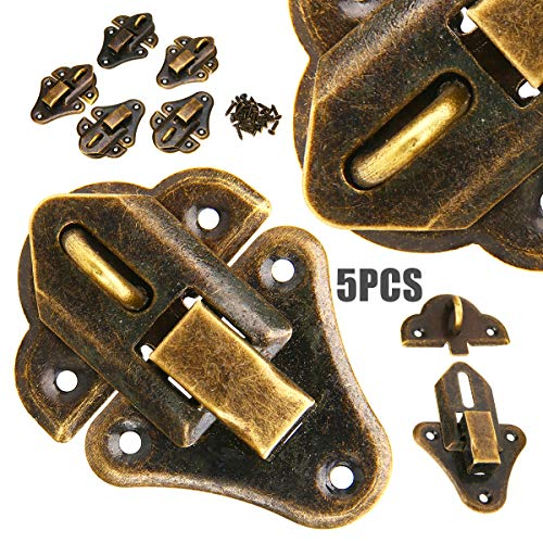 Hasp Latch Lock - 5pcs Antique Hardware Jewelry Gift Wood Box Case Latch Hasp Sets Bronze Tone Furniture - Duty Vintage Boxes Iron Combo Hook Bolts File Combination Black Mailbox Cross 32m