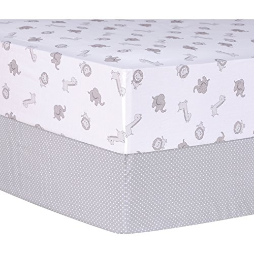 (Trend Lab Gray Safari and Dot 2 Piece Fitted Crib Sheets, Gray/White)
