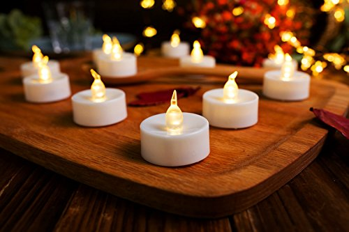 "AMAGIC 36 Pack Flameless Battery Operated Tea Lights, Electric Fake Tealight with Warm White Flickering Bulk, LED candle for Holiday & Home Decoration,Dia 1.4""x 1.3"", White"