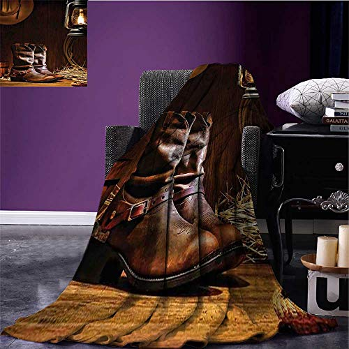 Western Decor Throw Blanket American Rodeo Cowboy Traditional Leather Working Roper Boots Oversized Travel Throw Cover Blanket Bed or Couch 60