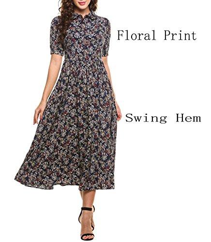 Goodfans Women V Neck Button Up Floral Print Maxi Dress Casual Sundress(Blue,S)