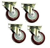 Swivel Caster 3-1/2''x1-1/4'' Poly Wheel 2-1/2''x3-5/8'' Plate Tile Floor Safe (4)
