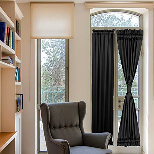 French Door Blinds Front Door Side Window Curtains Black Thermal Insulated Curtains for Living Room Rod Pocket 25x72 Black 1 Panel (Door Rod Curtain Side Panel)