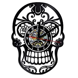 Decorative skull design handmade vinyl record wall clock -The Day of Dead dia de los Muerte Mexican - Wonderful bedroom or rest room wall art decoration