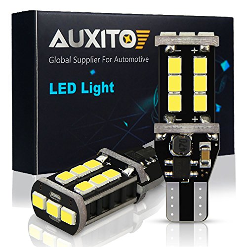 AUXITO 912 921 LED Backup Light Bulbs High Power 2835 15-SMD Chipsets Extremely Bright Error Free T15 906 W16W for Back Up Lights Reverse Lights, 6000K White (Pack of 2) ()