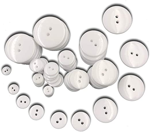 XYAA 100pcs Decorative Resin Crafts Scrapbooking Material DIY Sewing Accessory Buttons Two Holes Buttons Apparel Sewing(White 9mm)