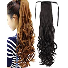 BarRan Thick Drawstring Ponytail Piece Clip in Long Pony Tail Curly Hair Extensions Tie up Wrap Around (20 inch, Brown and Black)
