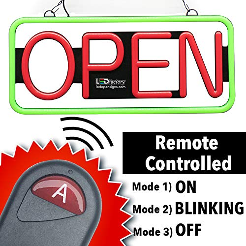 Remote Controlled LED Neon Open Sign - Rectangular Shape, 9x22'' Size, Red - Green Color (#3282) by LED-Factory (Image #2)