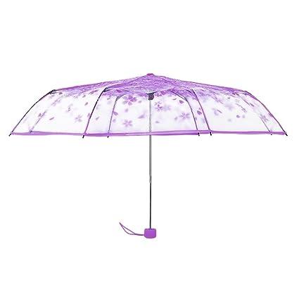 Paraguas plegable de Sukisuki con diseño transparente con flores de cerezo, Morado, talla única