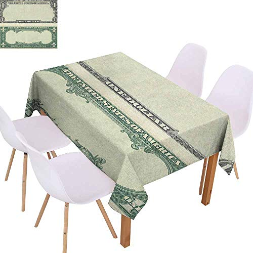 (Marilec Fabric Dust-Proof Table Cover Money One Dollar Bill Buck Design American Federal Reserve Note Pattern Wealth Symbol Washable Tablecloth W59 xL71 Pale Green Grey)