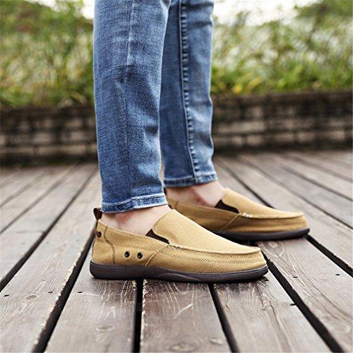 Sur Hommes Slip Khaki Classique Léger Lumino Respirant Chaussures Jeans Casual Mocassins Toile Gris wCRxq0