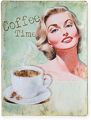 Metal Cartel Coffee Time verde cartel retro aprox. 30 x 40 ...