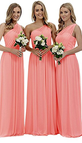 liangjinsmkj Women's One Shoulder Bridesmaid Dresses Long Asymmetric Chiffon Wedding Party Gowns Coral US22W