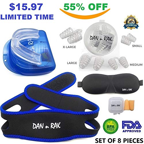 Complete Snoring Solution - 5 in 1 - Snore Mouthpiece, 4 Sets Nasal Dilators, Chin Strap, Sleeping Mask & Ear Plugs - Stop Snoring & Teeth Grinding with Anti Snoring Devices - Snore aid by DAN n RAK