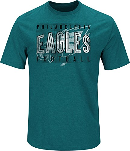 NFL Philadelphia Eagles Men's Ball Carrier Short Sleeve Crew Neck Tee, Medium, Marine Green