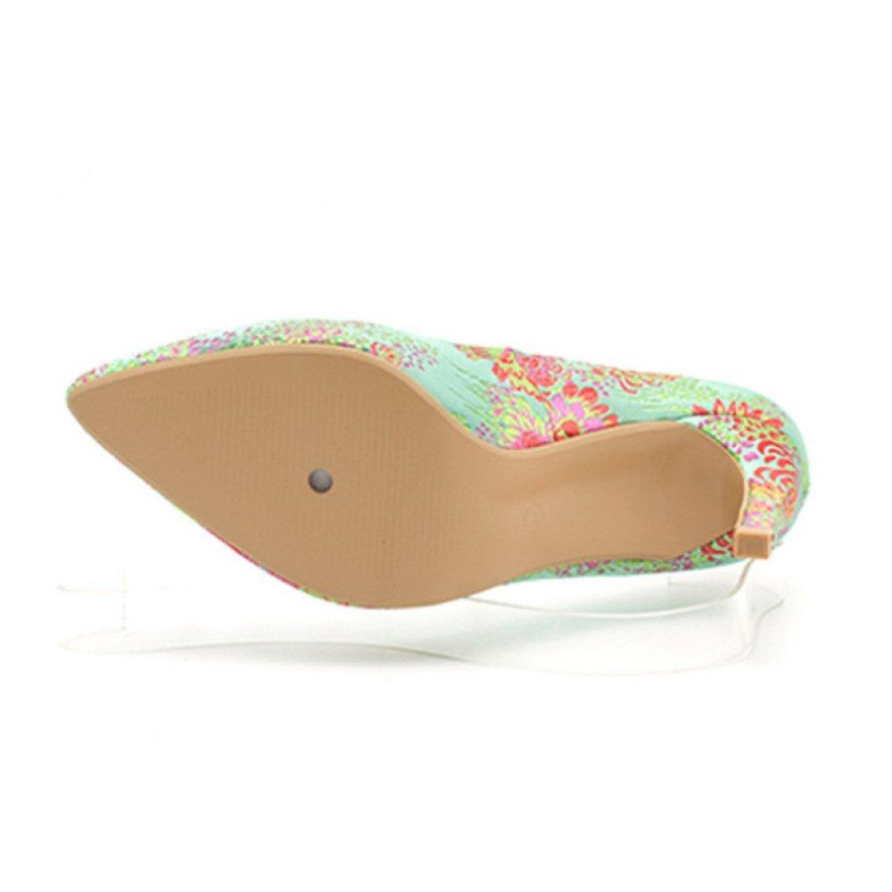 YR-R Damenschuhe Bestickte Mode Gericht Stiletto Stiletto Heels Frühling Sommer Für Cheongsam Kleid Sandalen Für Sommer OL Work Party Grün 6bb42f