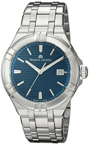 Maurice Lacroix Men's Aikon Swiss-Quartz Watch with Stainless-Steel Strap, Silver (Model: AI1008-SS002-431-1)