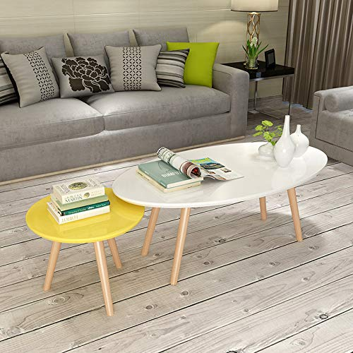 - PLLP Nordic Wood Painted Tea Table, Small Oval Coffee Table, Simple Modern Living Room Simple Wooden Small Round Side Table,White and Yello,Image Annotatio