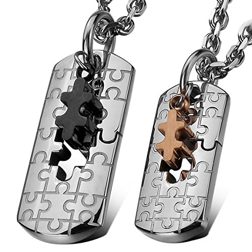 [INBLUE Men,Women's 2PCS Stainless Steel Pendant Necklace Jigsaw Puzzle Couple -With 20 and 23 Inch Chain] (Jigsaw Costume Couple)