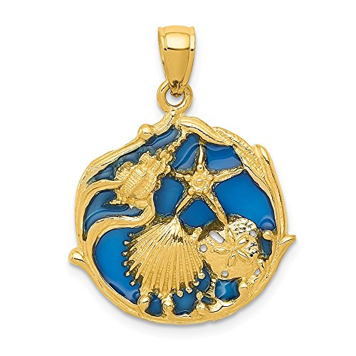 14k Yellow Gold Blue Enameled Sea Shell Mermaid Nautical Jewelry Cluster Pendant Charm Necklace Shore Fine Jewelry Gifts For Women For ()