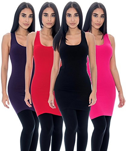 Top Deal (Women's Long Tank Top Stretch Racerback Ribbed Layering Camisole Assorted Colors (4-PK: Black, Fuchsia, Purple, Red, One Size))