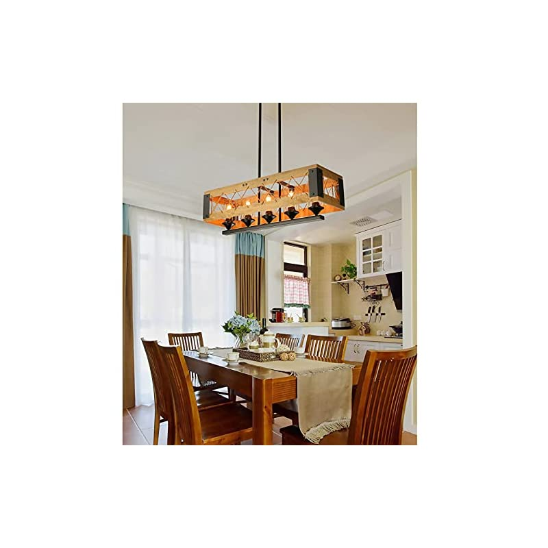 XIPUDA Dining Room Light Fixture, Farmhouse Lighting, Kitchen Island Lights, Rustic 5 Light Chandeliers with Clear Glass…