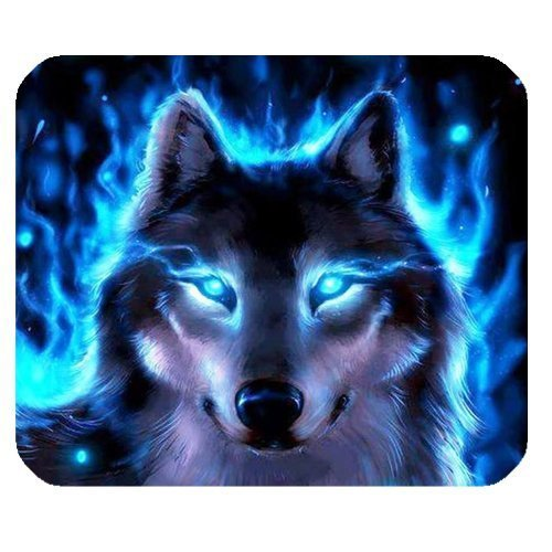 Personalized Luminous Wolf Cool Blue Flame for Rectangle Mouse Pad