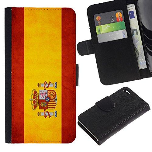 EuroCase - Apple Iphone 4 / 4S - Spain Grunge Flag - Cuir PU Coverture Shell Armure Coque Coq Cas Etui Housse Case Cover